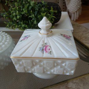 GORGEOUS Vintage MILK Glass COVERED Dish ROSES